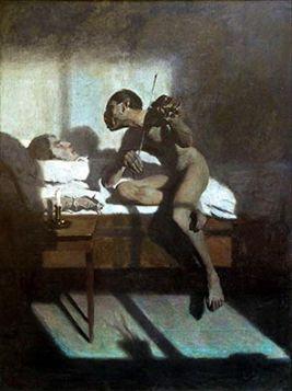 Śmierć Paganiniego - Edward Okuń reprodukcja obrazu