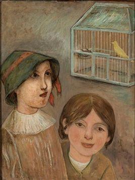 Dwie dziewczynki pod klatką z kanarkiem - Tadeusz Makowski reprodukcja obrazu