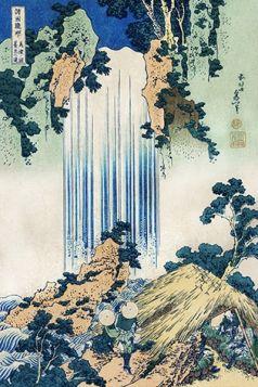 Wodospad Yoro w prowincji Mino - Katsushika Hokusai -  reprodukcja