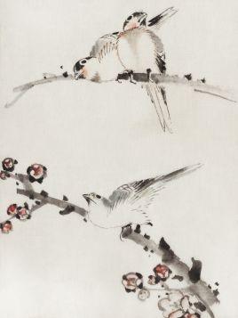 Trzy ptaki siedzące na gałęziach - Katsushika Hokusai - reprodukcja