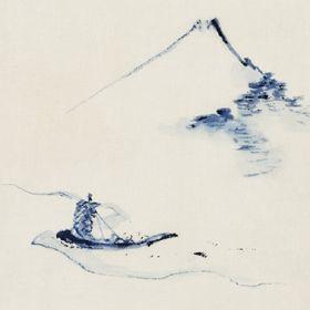 Osoba w małej łódce na rzece z górą Fuji w tle - Katsushika Hokusai - reprodukcja