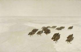 Kuropatwy na śniegu Józef Chełmoński - obraz