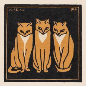 Trzy siedzące, rude koty - magnes