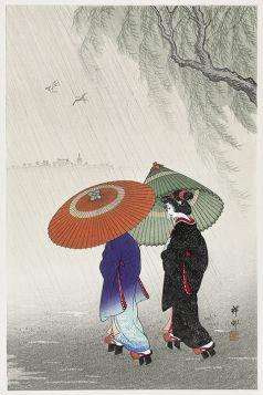 Dwie kobiety w deszczu - magnes