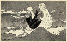 Żeglarz i potwory morskie - Edward Okuń - reprodukcja -80x50