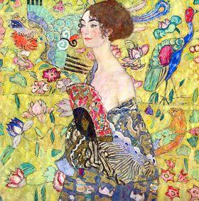 Dama z wachlarzem - Gustav Klimt - reprodukcja