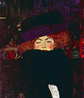 Dama z kapeluszem i piórkiem - Gustav Klimt - reprodukcja