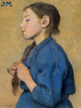 Dziewczynka w niebieskiej sukni - Józef Mehoffer - reprodukcja