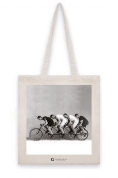 Torba lniana - Czwórka rowerzystów