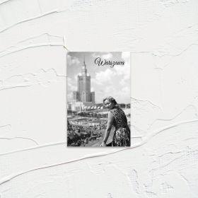 Kartka pocztowa - Warszawianka (w tle PKiN)