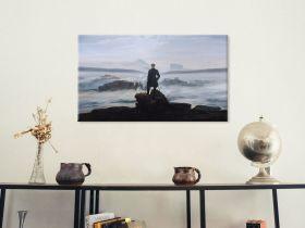 Wędrowiec nad morzem mgły (poziom) -  Caspar David Friedrich - reprodukcja