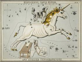 Astronomiczna mapa, Jednorożec - ilustracja vintage