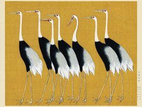 Japońskie żurawie - ilustracja vintage