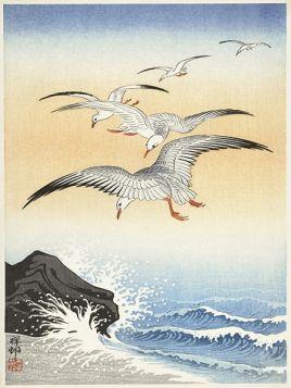 Mewy nad wzburzonym morzem - ilustracja vintage