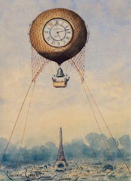 Balon nad wieżą Eiffla - ilustracja vintage