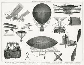 Aeronautyka, maszyny lotnicze - ilustracja vintage