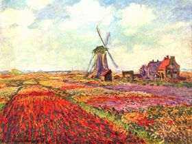 Pole tulipanów w Holandii - Claude Monet  - reprodukcja