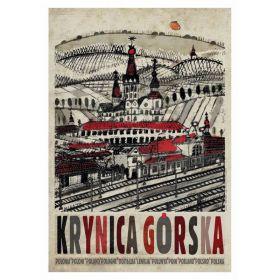 Kartka pocztowa - Krynica Górska (Polska Szkoła Plakatu, Ryszard Kaja)
