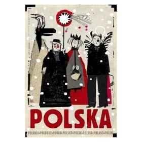 Kartka pocztowa – Polska, kolędnicy  (Polska Szkoła Plakatu, Ryszard Kaja)