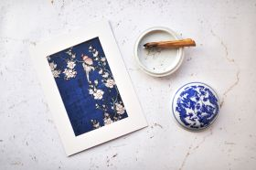 Hokusai, Robin na gałęzi wiśniowych kwiatów  - zdjęcie z passe-partout