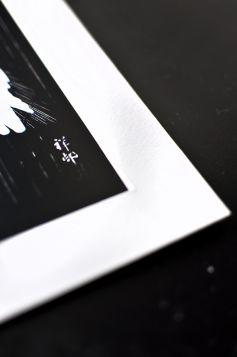 Czapla w deszczu, japońska ilustracja - zdjęcie z passe-partout