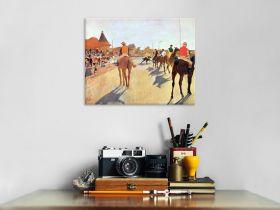 Dżokeje przed trybuną - Edgar Degas - reprodukcja