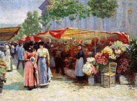 Targ na kwiaty przed kościołem św. Magdaleny w Paryżu  - Józef Pankiewicz, reprodukcja obrazu