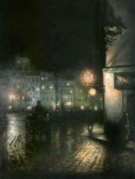 Rynek starego miasta w Warszawie, noc -  Józef Pankiewicz, reprodukcja obrazu