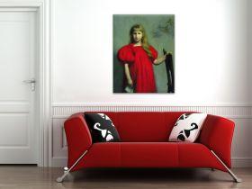 Portret dziewczynki w czerwonej sukni, Józefy Oderfeldówny - Józef Pankiewicz, reprodukcja obrazu