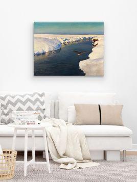 Pejzaż zimowy z morzem i ptakiem -  Julian Fałat, reprodukcja obrazu