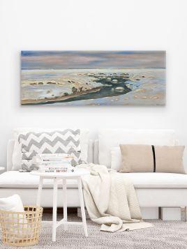 Rzeka wśród śniegów - Julian Fałat, reprodukcja obrazu-Obraz na płótnie-90x35