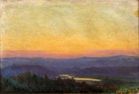 Wisła pod Tyńcem po zachodzie słońca - Leon Wyczółkowski, reprodukcja obrazu
