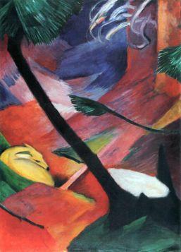 Jeleń w lesie II - Franz Marc - reprodukcja