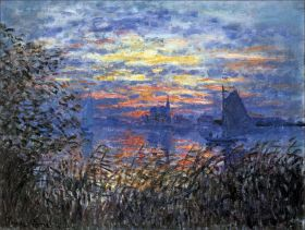 Claude Monet - Marine View with a sunset - magnes