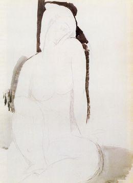 Akt siedzący (1914), szkic, Amedeo Modigliani - reprodukcja