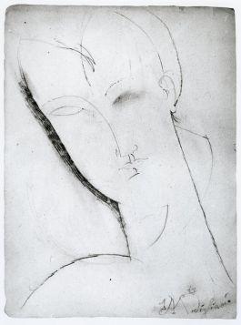 Głowa kobiety (1915), szkic,  Amedeo Modigliani - reprodukcja