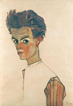 Autoportret w pasiastej koszuli  - Egon Schiele - reprodukcja