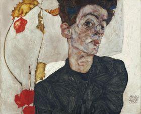 Autoportret z rośliną -  Egon Schiele - reprodukcja