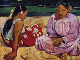 Tahitańskie kobiety na plaży Paul Gauguin - reprodukcja