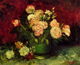 Van Gogh - Bowl with Peonies and Roses