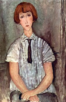 Młoda kobieta w pasiastej bluzce - Amedeo Modigliani - reprodukcja