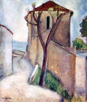 Drzewo i dom - Amedeo Modigliani - reprodukcja
