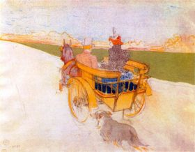 Carriage with Dog by Toulouse-Lautrec