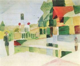 Jasny dom - August Macke  - reprodukcja