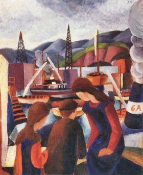 Dzieci w porcie (I)  - August Macke  - reprodukcja