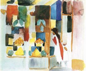 Dzieci w sklepie z warzywami (I) - August Macke  - reprodukcja