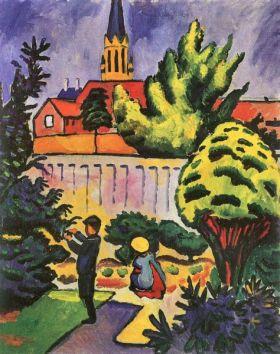 Dzieci w ogrodzie - August Macke  - reprodukcja