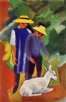 Dzieci z kozą - August Macke  - reprodukcja