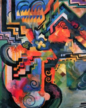 Kompozycja kolorów (I) - August Macke  - reprodukcja