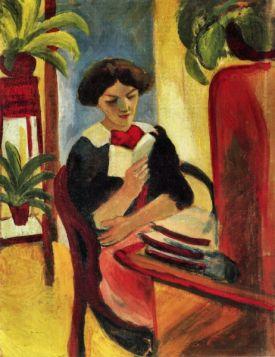 Elisabeth przy swoim biurku [2] - August Macke  - reprodukcja